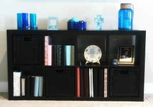 Black Shelf with Blue Glass Decor before Spring refresh