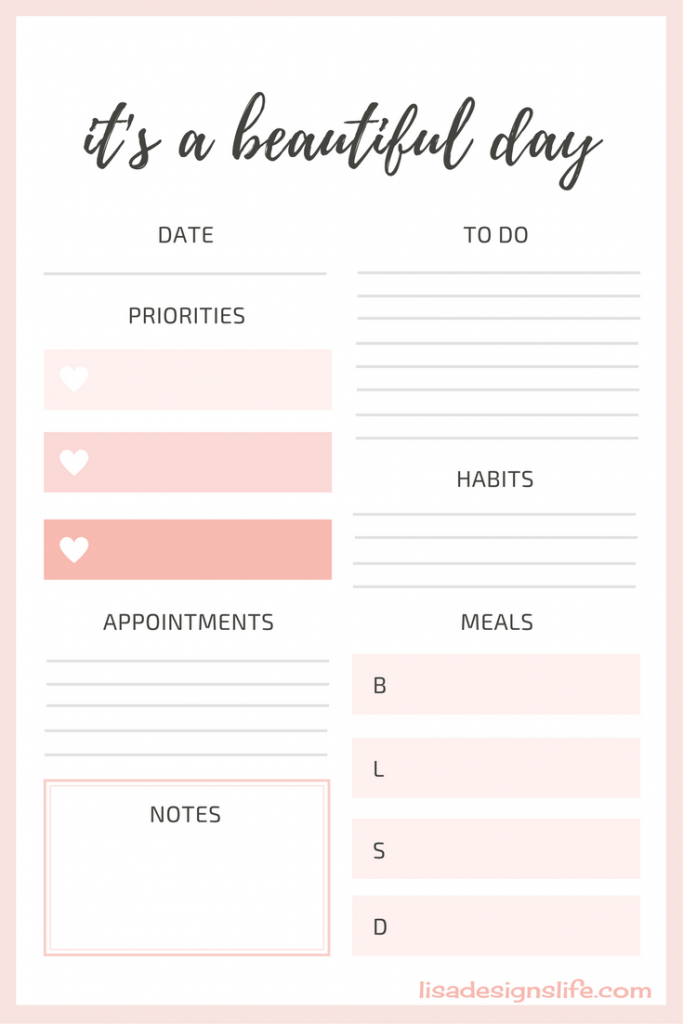 Click on the image for your free pretty printable planner set!