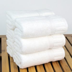 Shop4You by Lisa Luxury Hotel & Spa Towel 100% Genuine Turkish Cotton Piano (White, Hand Towel - Set of 6). Image via Amazon.com