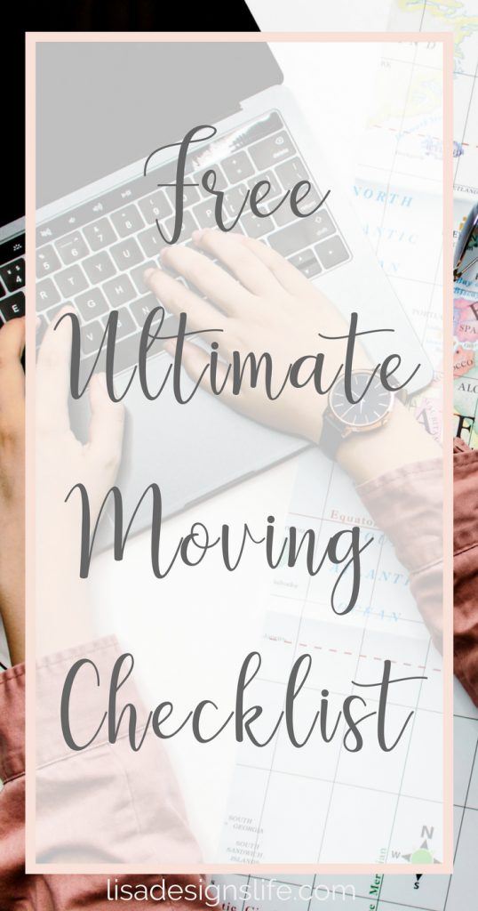 "Grab your Free Ultimate Moving Checklist. Planning a move?  Whether you are packing up to go across town or across the country, being organized is the only way to keep your sanity during a move! I've created a super detailed ""Ultimate Moving Checklist"". Even if you are just moving across the street, this list will help you think of every little last teeny detail so you can get excited about your new place! Click to read the post and get your list! #moving #organizing #freeprintable #checklist"