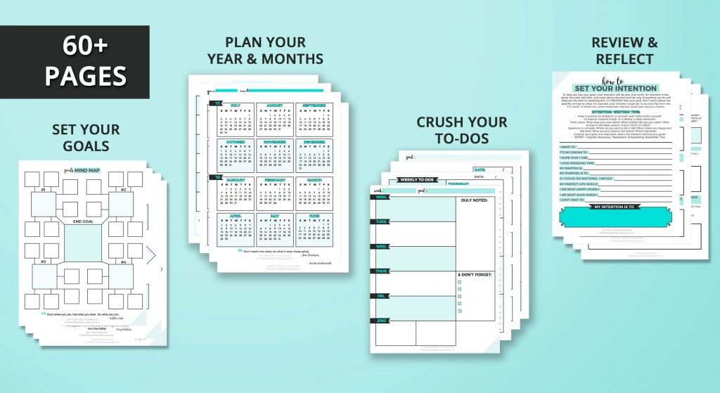 This planner guides you as you set and review your goals, crush your to-do list and plan your year. With six in-depth chapters, worksheets and specific steps to turn your dreams into reality by focussing on ways to make your goals actionable rather than just keeping you organized.