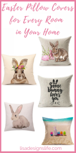 Throw pillow covers are an inexpensive way to decorate your home for Easter. Click the image and head on over anytime of the year, there is always a wide assortment for any season or decor style.