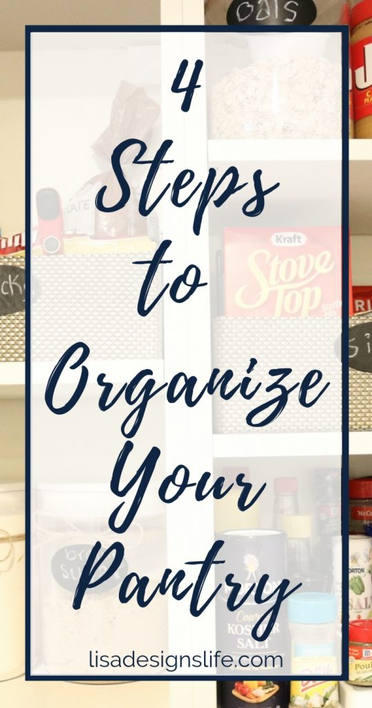 Large, small or in between, whatever size your pantry is, we have the four steps to help you set a game plan, organize your pantry, and give it some personal flair. Click to read how! #organize #pantry #organization #smallpantry